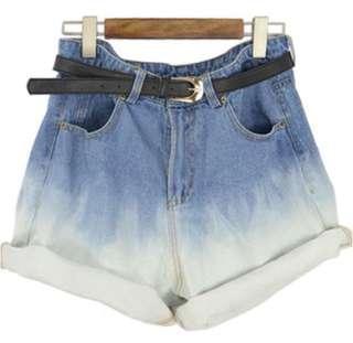 Gradient Paperbag Denim Shorts