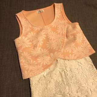 Coral pink cropped top office singlet kitschen