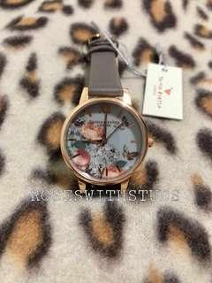 🚚 OLIVIA BURTON MIDI SIGNATURE FLORA LONDA GREY WATCH