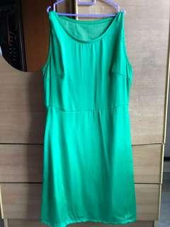 High Quality Silky Work Shift Green Dress