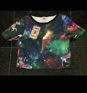 JustHype Colorful Galaxy Print Crop Top
