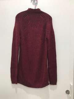 🚚 全新專櫃條紋羊毛針織高領衫