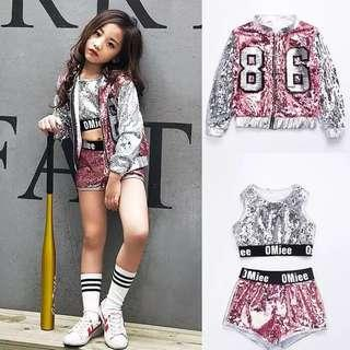 Sequins Hip Hop Girls Dance Suit Jacket 3pcs Set
