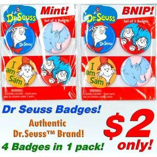 Dr Seuss Badges (4 in 1 Packet) *AUTHENTIC DR SEUSS PRODUCT* *CLEARANCE SALE! Discount Price offer at $2 now! Limited Stock! BNIP!*