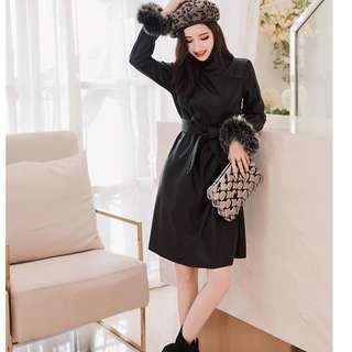 leather bLACK dress winter