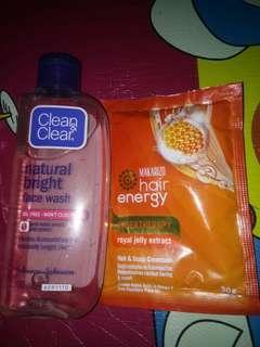 Take all clean & clear natural bright 100ml dan makarizo hair energy 30 gr