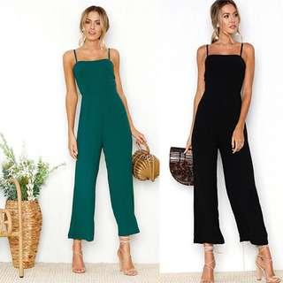 (7Col) Thin Spaghetti Strap Bustier Fitted Jumpsuit