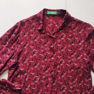Instock! - Maroon Floral Button Down Collared Shirt Blouse