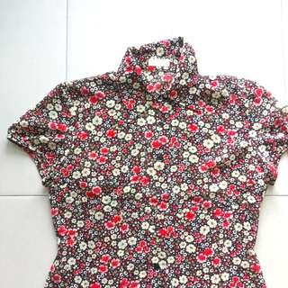 Instock! - Vintage Red Floral Mandarin Collar Fitted Chinese Blouse Top
