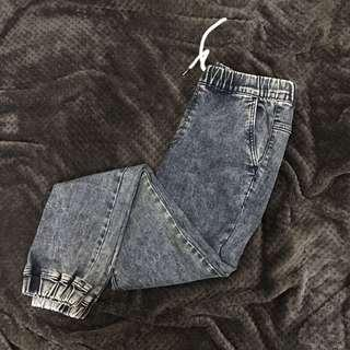 Net牛仔色縮口長褲