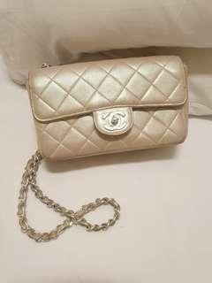 Authentic Chanel Mini Rectangle Pearly Gold Silver hw