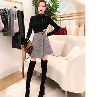 high waist asymetric plaid wool skirt