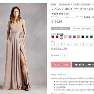 Vera Wang Bridesmaid Dress size 8