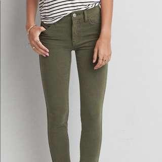 American Eagle Army Green Super Stretch Skinny Jeans