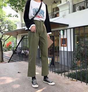 (2Col) High Waist Cargo Trousers Pants