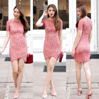 Lollyrouge Whispers Camellia Dress (Rose) S