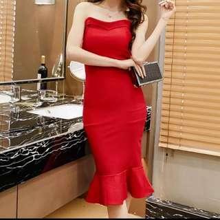 NEW Sweetheart Mermaid Midi Dress Red