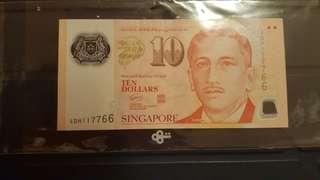 S$10 Currency Note (4DH 117766)
