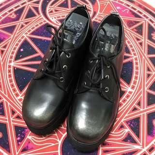 Black Ankle Boots / Creepers PU Leather