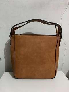Zara Simple Tote Bag / Choco Brown / Hand Carry / Sling Bag