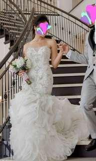 Embellished Strapless Wedding Dress with Multi-Tier Organza