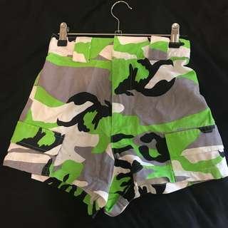 Festival neon camo shorts