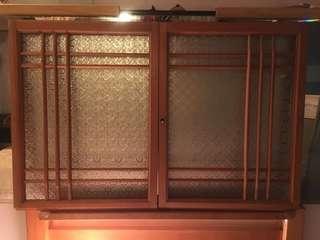 🚚 早期海棠花玻璃實木窗