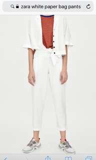 Zara White Paper Bag Pants (XS)