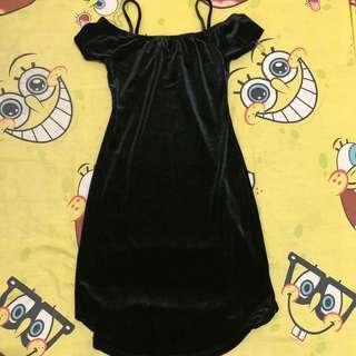 Classy Velvet Black Dress
