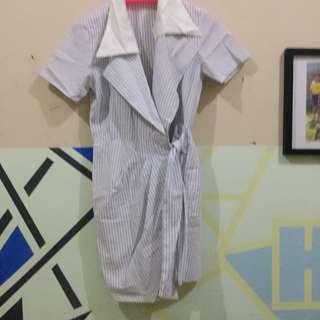 Dress garis putih biru