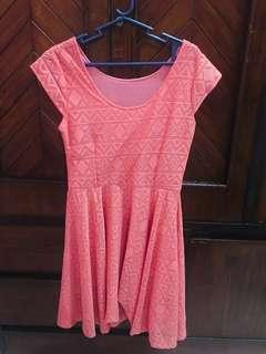 CORAL DRESS WITH PATTERNS