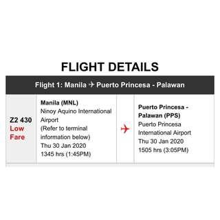 MNL-PPS (MANILA TO PUERTO PRINCESA PALAWAN) FLIGHT TICKET FOR TWO