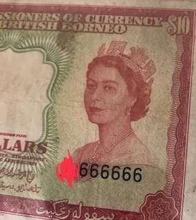 ( For Sharing only) 21st March 1953 Queen e $10 With Solid 6