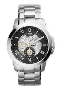 GENUINE FOSSIL GRANT AUTOMATIC STAINLESS STEEL BLACK DIAL MEN'S CASUAL WATCH   ME3055