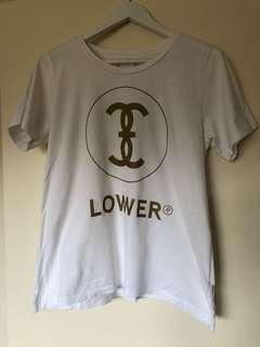 White lower tee