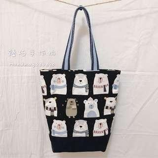 🚚 🐻熊愛你~藍底~手作拼布包/手作手提袋/購物袋/側肩包