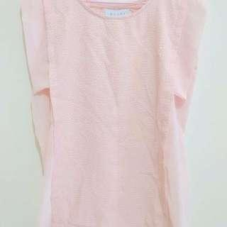 NEW Basic Top Peach Soft Pink Woman Blouse Baju Atasan