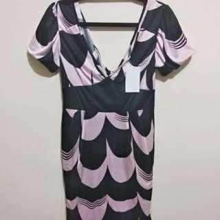 NEW Dress Motif Woman Dresses Wanita Pink Hitam Black Pink