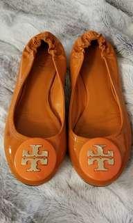 Tory Burch Orange Ballerina Flats Shoes - 7