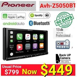 """Pioneer 5050BT head unit - Android Auto + Apple Carplay + Bluetooth 7"""" Touchscreen  DVD player + 60 days warranty .   Model Z5050BT. Usual Price: 660 Special price: $ 449  (Brand new in box & sealed)"""