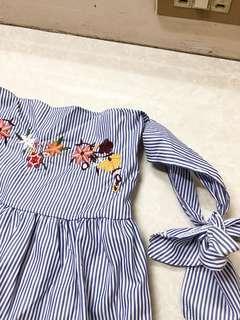 ZARA Inspired Floral Embroidered Off Shoulder Tie Blue Stripes