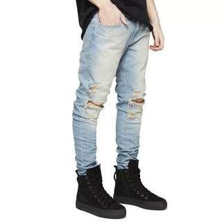 🇺🇸歐美Streetwear小腳彈力洗水牛仔褲