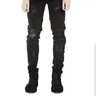 🇺🇸歐美Streetwear修身破洞牛仔褲