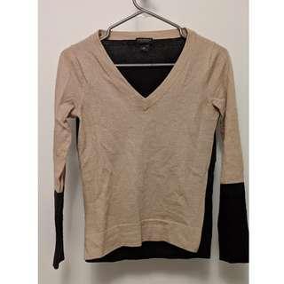 Club Monaco Beige Black Wool Sweater