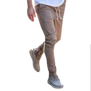 🇺🇸歐美Streetwear修身純色拉鍊腳褲