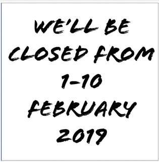We'll be away from 1-10 February