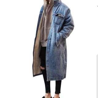 🇺🇸歐美Streetwear羊羔中長款加絨牛仔大褸