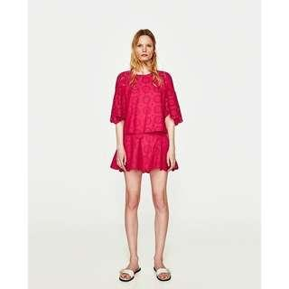 🚚 ZARA SS17 PINK FLORAL EMBROIDERED EYELET RUFFLE FRILLED SLEEVE BLOUSE TOP S
