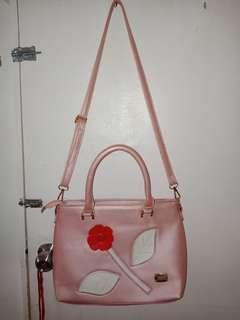 Sling bag hand bag light pink