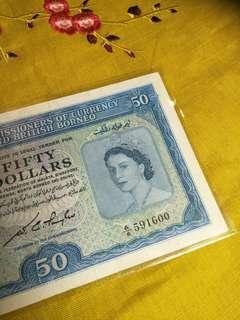 Old Malaya and British Borneo $50 notes